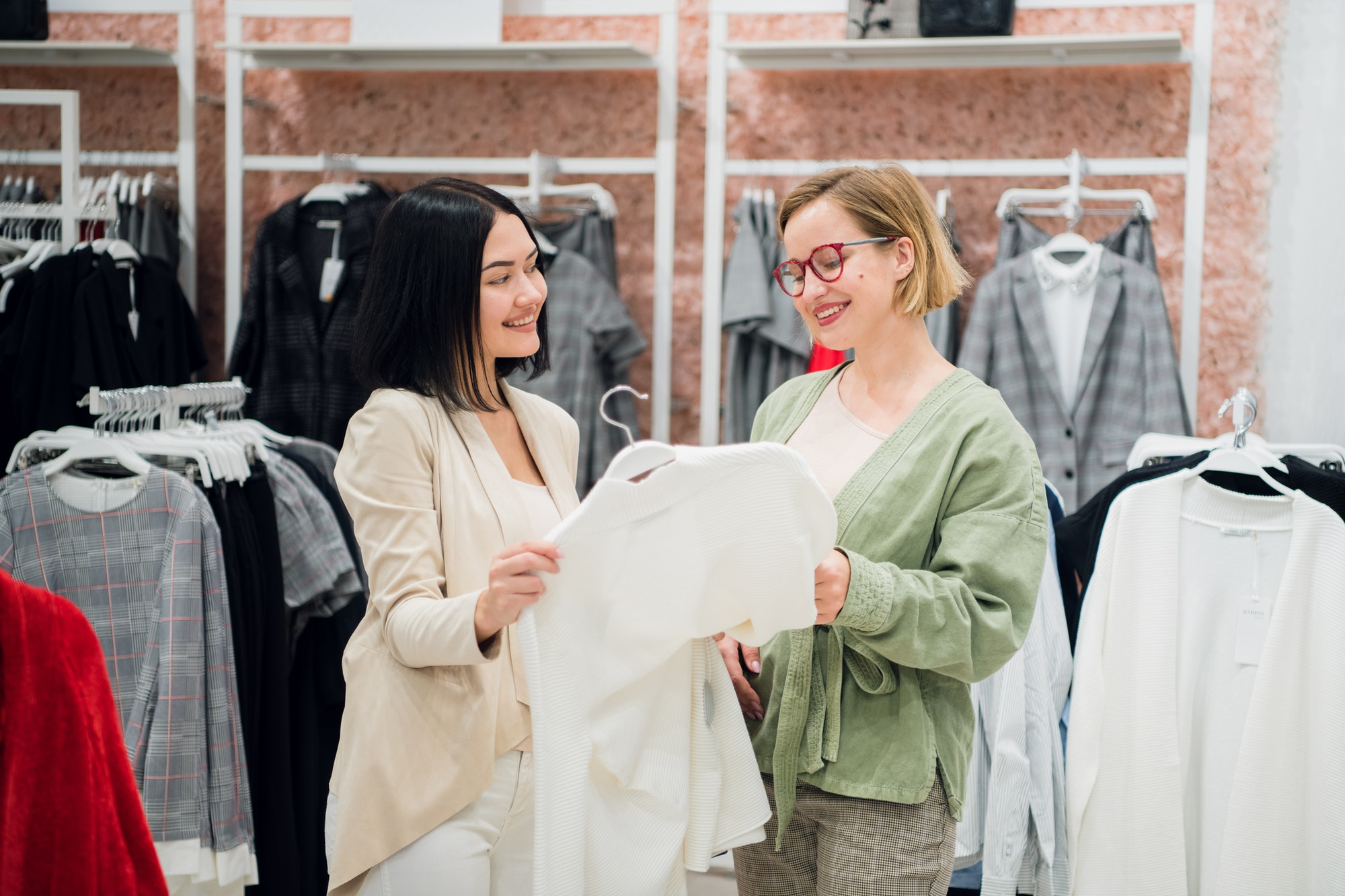 Fashion consultant showing clothes to the client